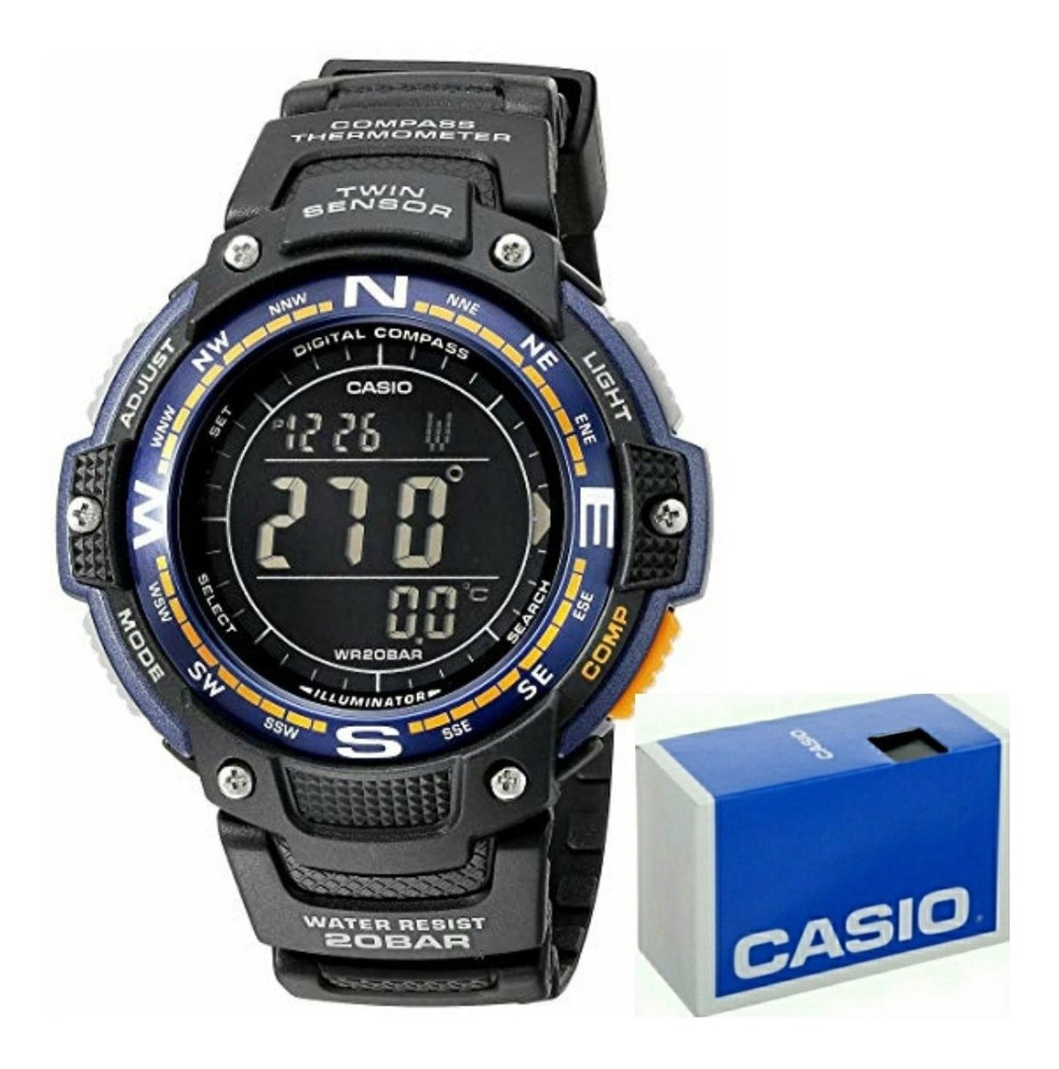 Termomet Reloj Brujula Digital Cronometro Sgw100 Negro Casio LjqGSzVpUM