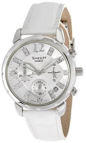 reloj casio  sheen blanco