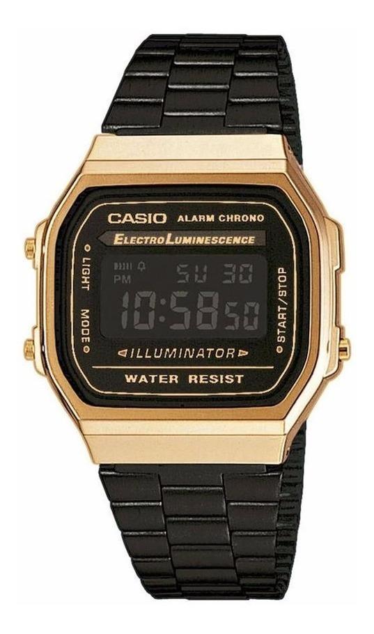 código promocional 21844 6e9eb Reloj Casio Vintage A168 Dorado Con Negro- Original - Cfmx