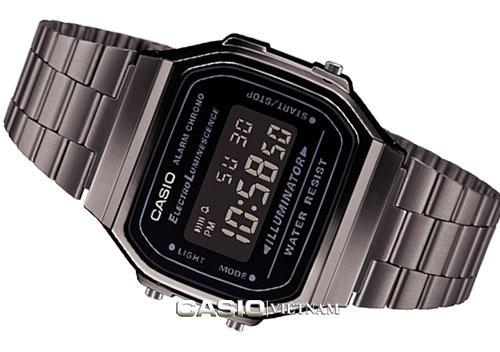 reloj casio vintage cromado negro a168wgg-1b