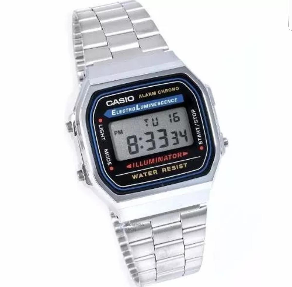4890b1c02039 reloj casio vintage plata negro a168 envio gratis retro. Cargando zoom.