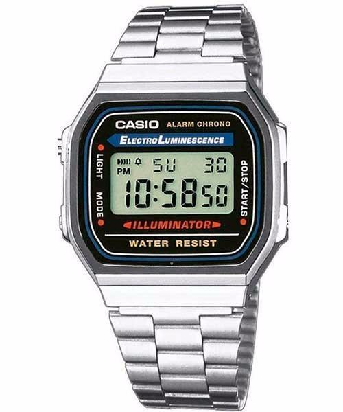 c60a7904e2e6 Reloj Casio Vintage Plateado A-168wa-1w Hombre Digital Retro ...