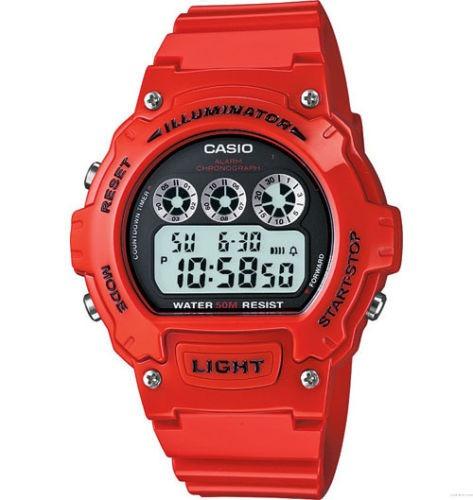 reloj casio w214hc-4av w-214hc-4avef mens red cronografo