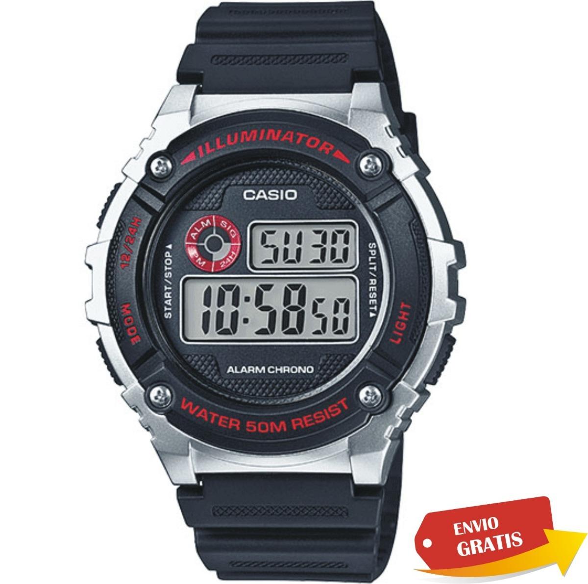 fbe62aa5b5ad Reloj Casio W216 Alarma Crono Luz Wr50 -   449.00 en Mercado Libre