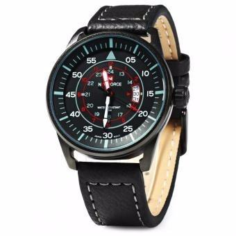 reloj casual de hombre con correa de cuero negra, naviforce