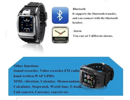 reloj celular tactil mp3 mp4  camara espia, fotos video