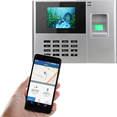reloj checador de huella digital, conexión por usb y red, app opcional