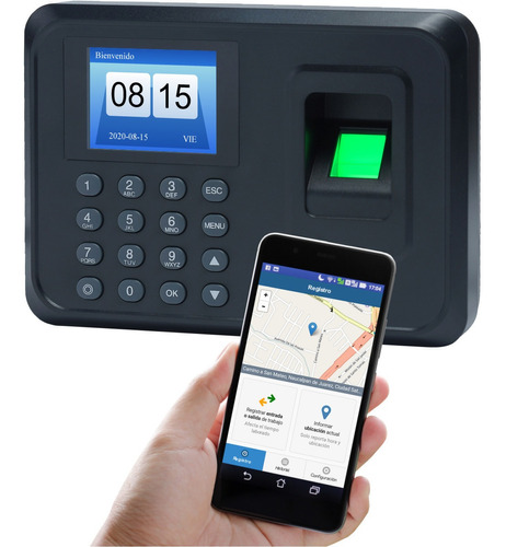reloj checador huella compatible con app celular opcional