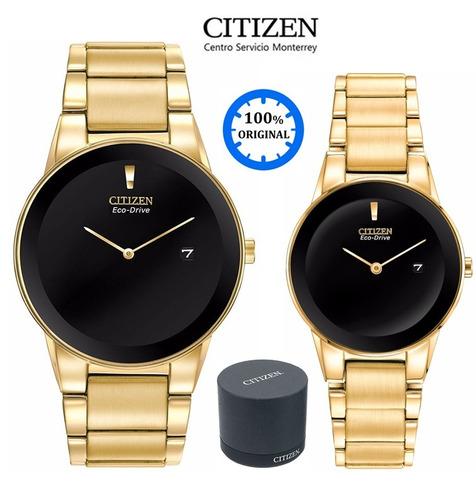reloj citizen 60489 eco-drive pareja dorado *watchsalas*