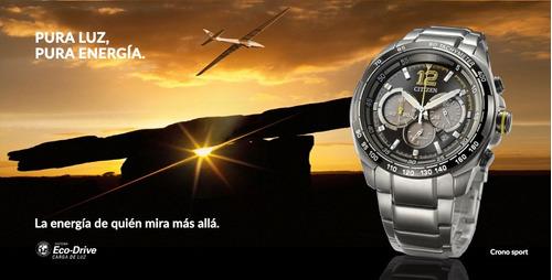 reloj citizen ca423451e wr 100m eco-drive am pm taquimetro