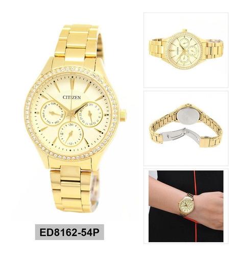 reloj citizen dama dorado ed8162-54p agente oficial jr