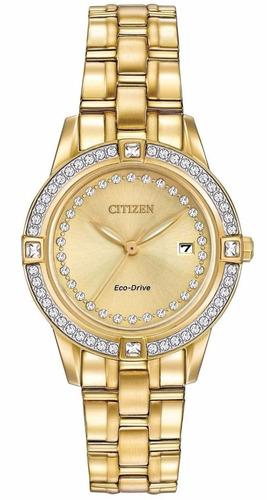 reloj citizen eco-drive acero dorado mujer fe1152-52p