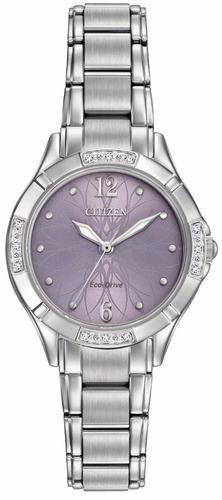 reloj citizen eco-drive diamonds morado mujer em0450-53x