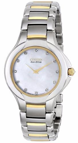 reloj citizen eco-drive fiore acero dorado mujer ex1184-51d