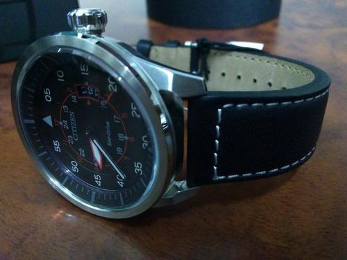 reloj citizen eco-drive/avion leather black aw1361-01e nuevo