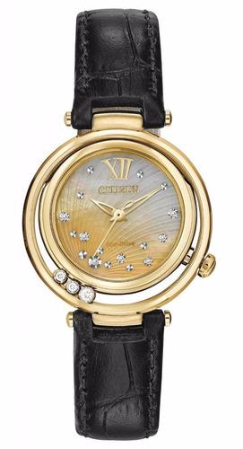reloj citizen ecodrive sunrise concha dorad mujer em0322-02y