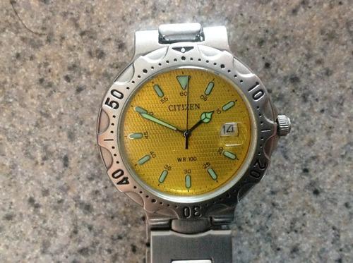 reloj citizen original cuarzo. amarillo 90's ¡cómo nuevo!