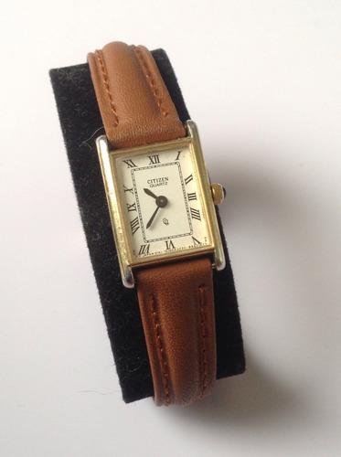 reloj citizen vintage, cuarzo, 90's extra plano para dama.