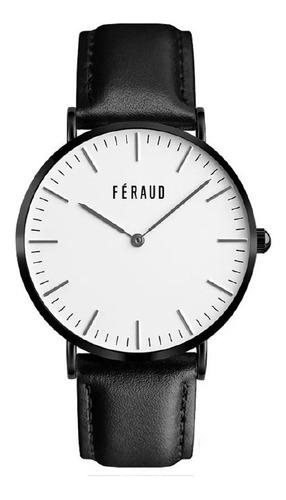 reloj clasico cuero minimalista hombre feraud f5510bk