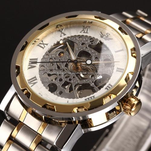 reloj clásico hermoso transparente malla de metal calidad