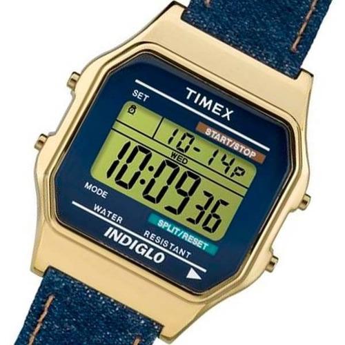 reloj clasico timex unisex estilo 80's denim azul