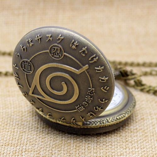 reloj colgante collar de naruto coleccionable konoha hoja