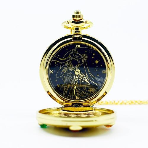 reloj collar sailor moon dorado anime