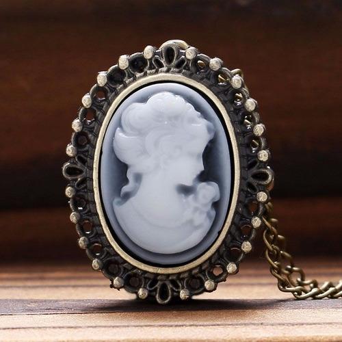 reloj collar vintage camafeo