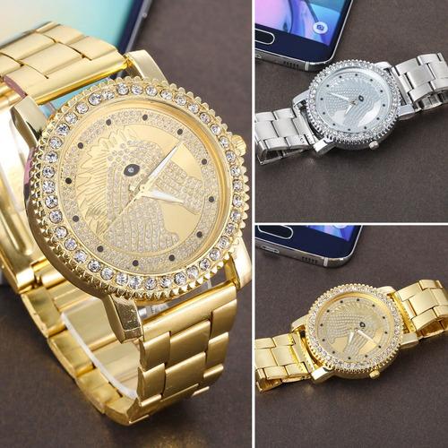 reloj con caballo cristales zirconia dorado regalo exclusivo