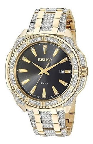 reloj con esfera de cristal dorado solar de seiko para hombr