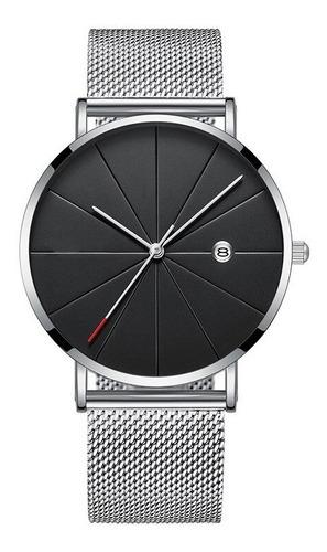 reloj con fechador hombre elegante correa metalica envio gra