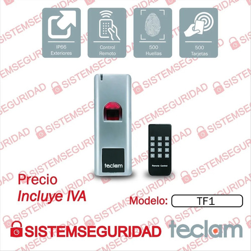 reloj control acceso biometrico tf6  teclam huella tarjeta