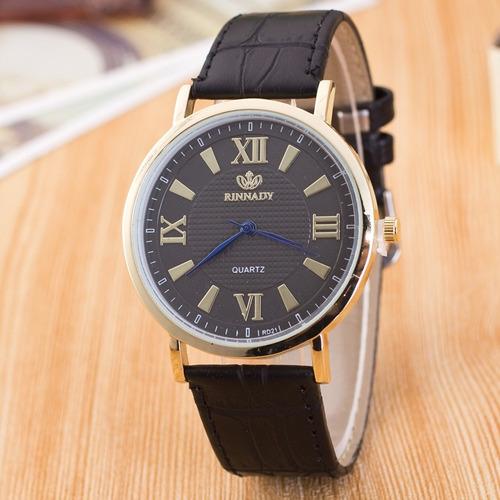 reloj correa 3 cuero cara color negro