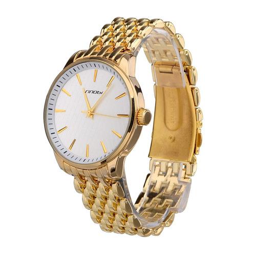 reloj correa sinobi dial redondo clavado bascula dorado