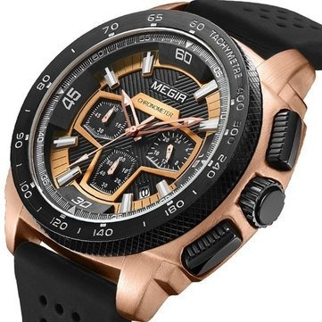 reloj cronógrafo hombre militar cuarzo análogo megir 2056