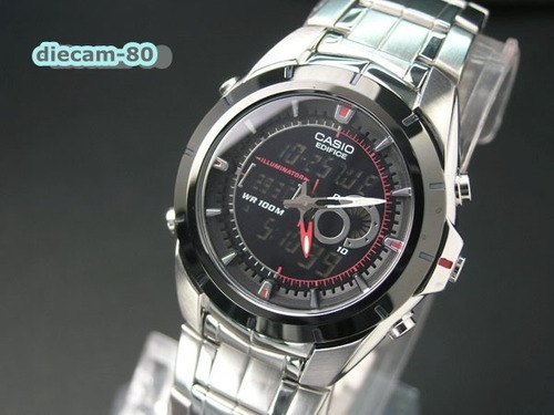 reloj cronometro 1/100 casio edifice efa 119bk 1a red bull