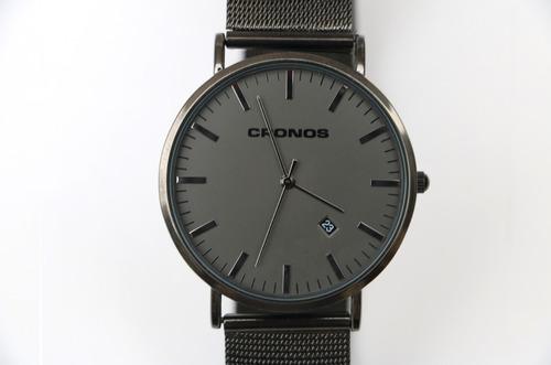 reloj cronos tempus fecha acero inox ultra fino resist agua