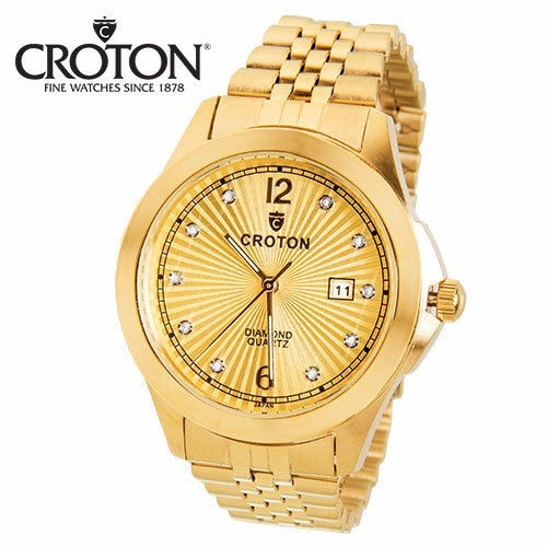 reloj croton acero inox oro 10 diamond hombre cn307562ylcd