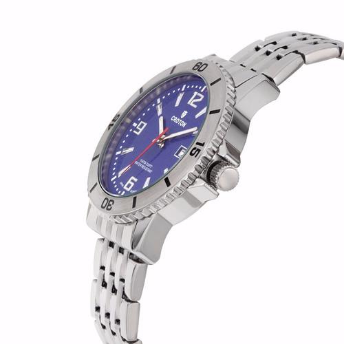 reloj croton acero inoxidable azul plata hombre ca301288ssbl