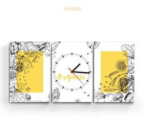 Reloj Cuadro Triptico Cocina Deco Arte Moderno Diseño Nuevo
