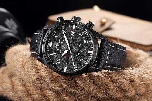 reloj cuarzo acero cronografo cuero original exclusivo