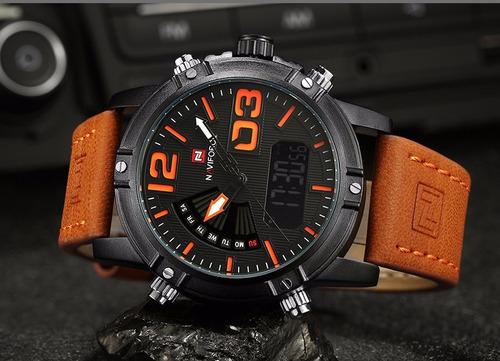 reloj cuarzo digital militar naviforce nf9095 negro naranja