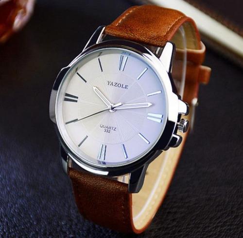 reloj cuarzo hombre pulsera cuero acero inoxidable de lujo