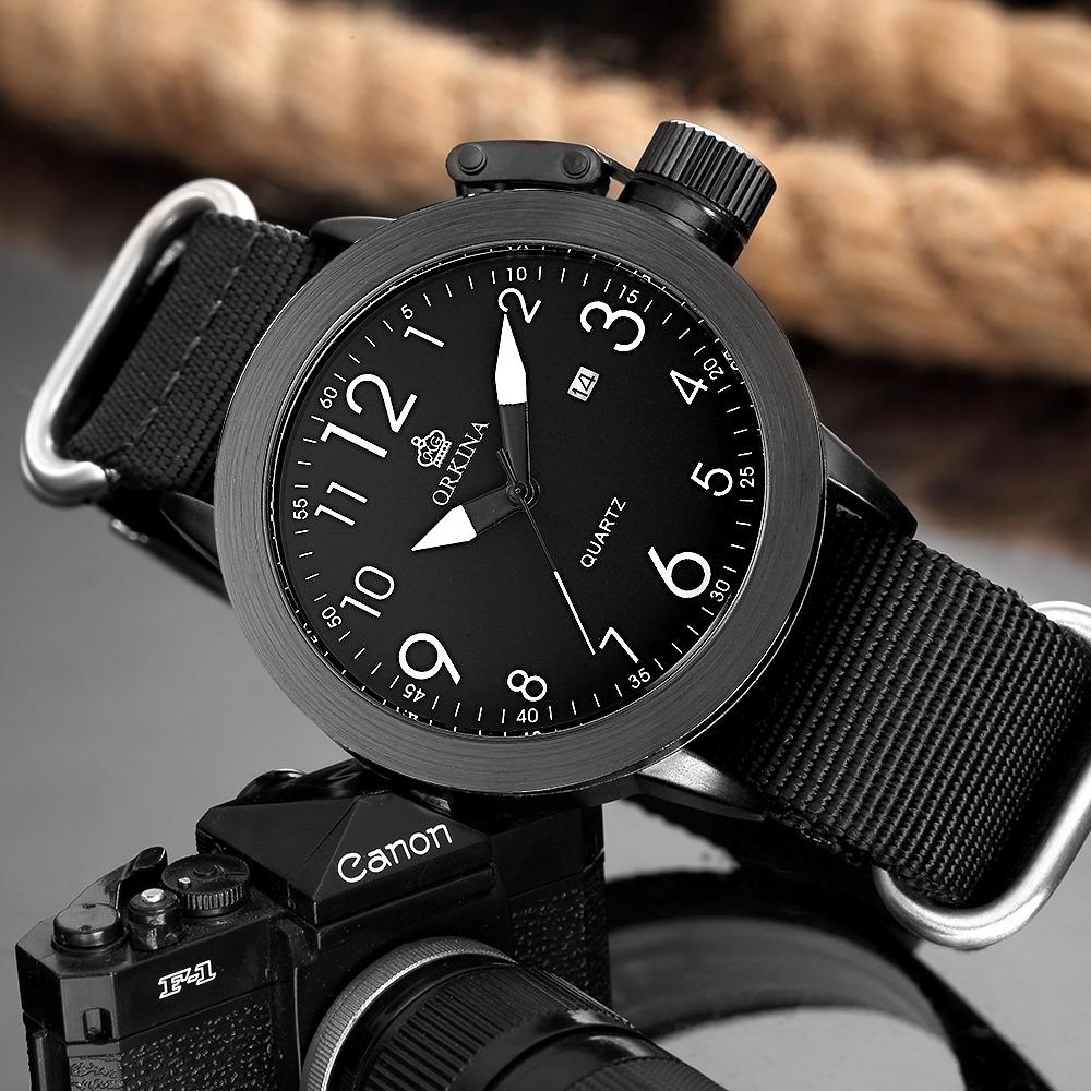 36b18311e2ee Reloj Cuarzo Para Hombre Mg.orkina Dial Metal Banda De Tela ...