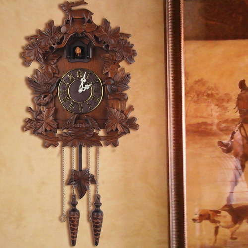reloj cucú pared tallado a mano musical cuarzo nuevo msi