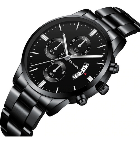 reloj cuena asiatico caballero pulsera acero elegante negro