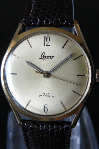 reloj cuerda en oro aleman laco 17 rubi año 50 mecanico