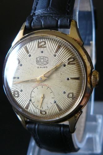reloj cuerda en oro aleman ruhla 15 rubi año 50 mecanico