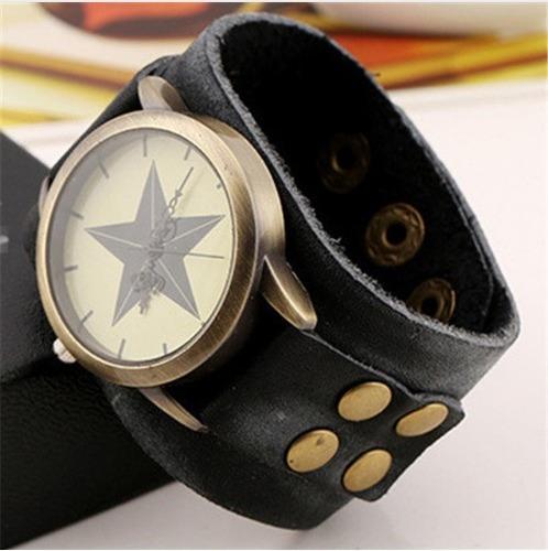 reloj cuero genuino estrella hombre moto caballero moda rock
