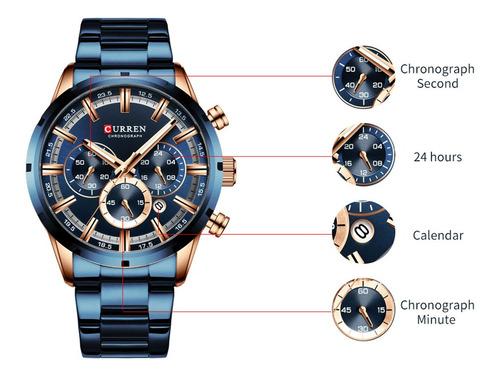 reloj curren 8355m de cuarzo, correa de acero inoxidable